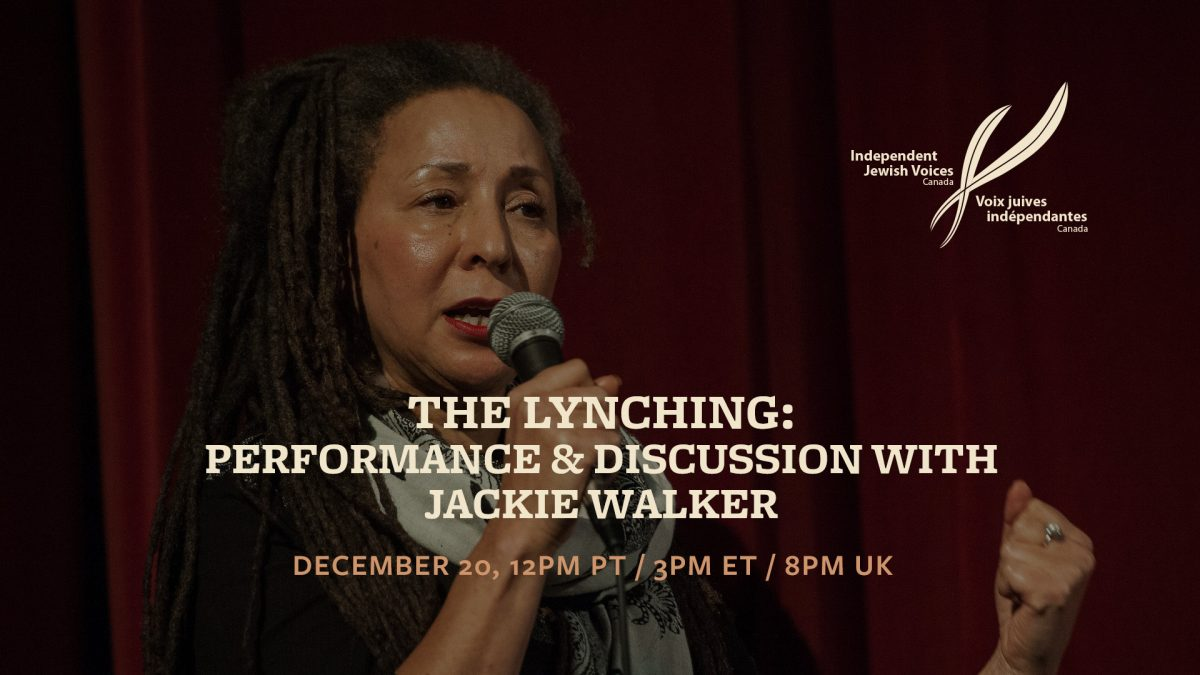 The Lynching: Performance & discussion with Jackie Walker
